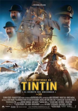 """Cartel de la película """"Las aventuras de Tintín: el secreto del Unicornio"""""""