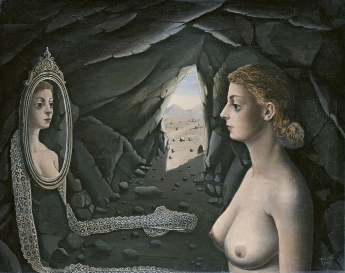 Mujer ante el espejo (1936, Paul Delvaux)