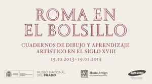 """Cartel de la exposición """"Roma en el bolsillo"""""""