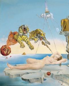 Sueño causado por el vuelo de una abeja alrededor de una granada un segundo antes de despertar (Salvador Dalí, 1944)
