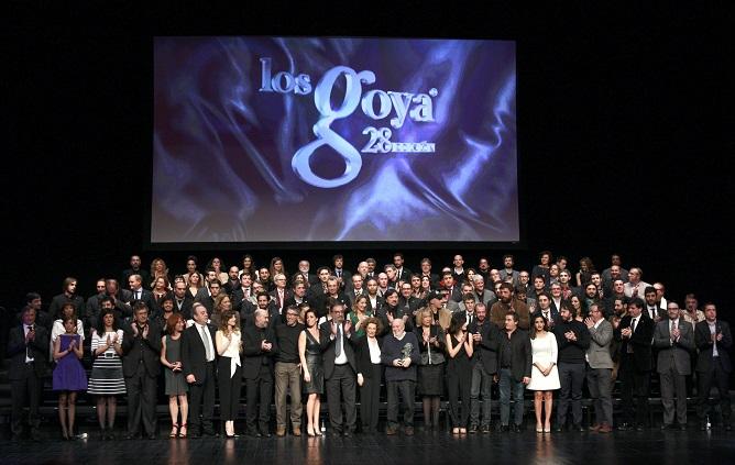 Foto de familia de los nominados a los premios Goya en su XXVIII edición