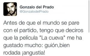 """Tweet del periodista de Antena 3 Gonzalo del Prado opinando sobre """"La Cueva"""""""
