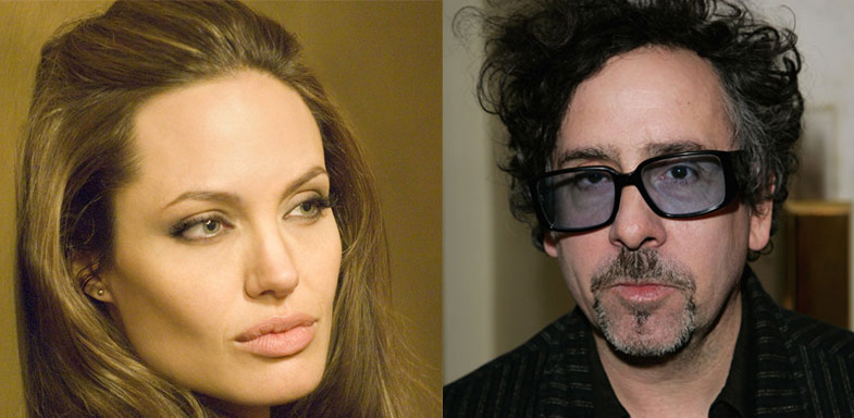 Los directores Angelina Jolie y Tim Burton