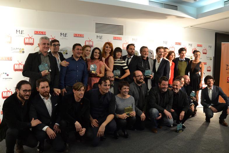 Los ganadores posando para el photocall