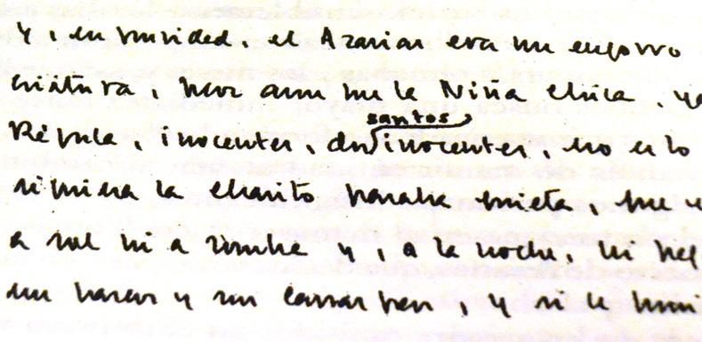 Manuscrito de la obra en el que se puede observar la adición del sustantivo 'santos'. Extraído de la edición de Crítica.