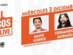 Imagen anunciando a los tres cómicos Manu Górriz, Denny Horror y Fernando Moraño