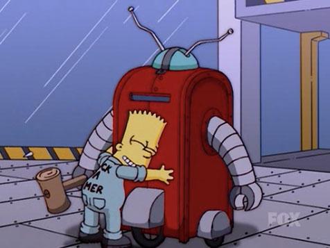 Homer Simpson haciéndose pasar por robot para restaurar la confianza de Bart.