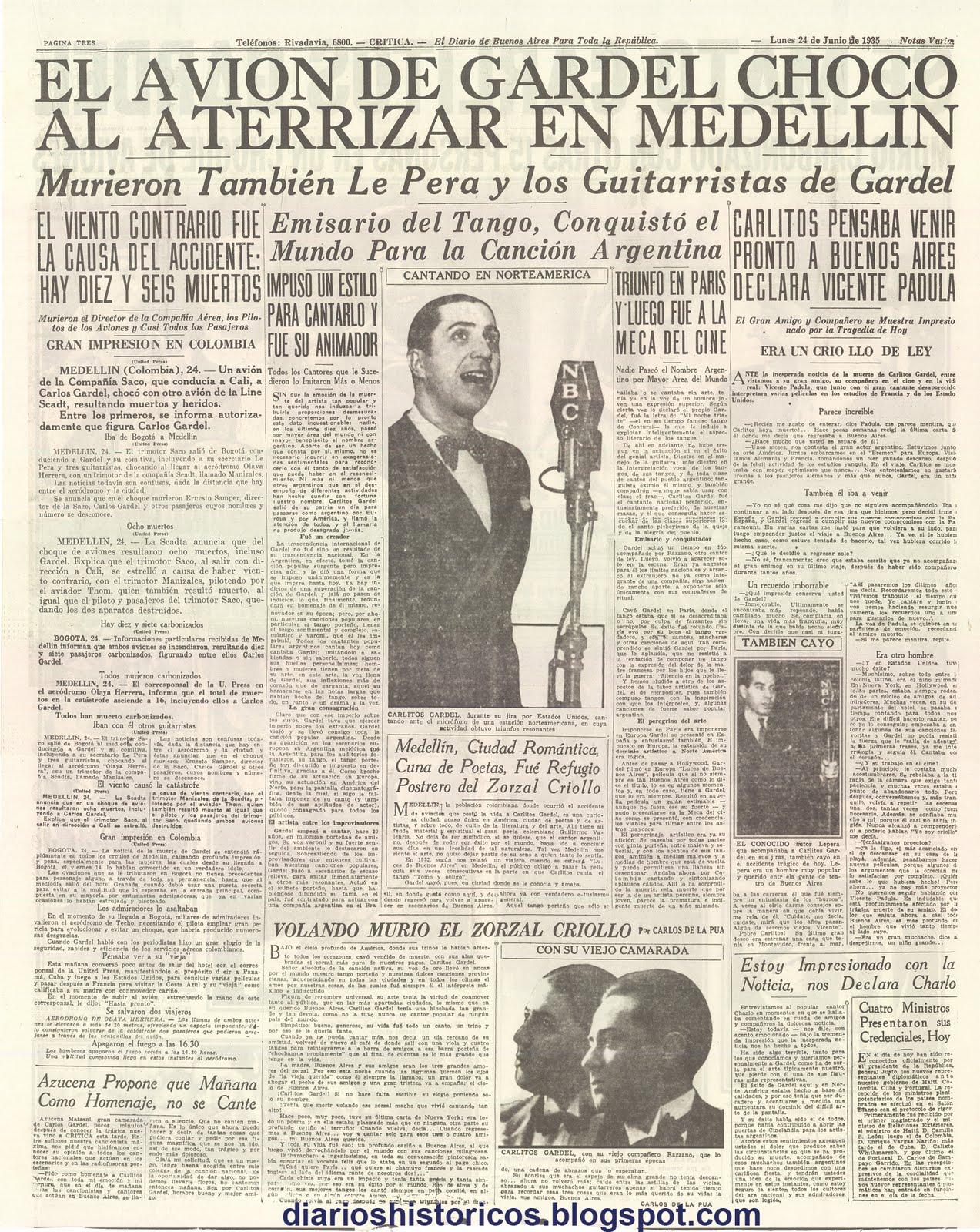Periódico Muerte Gardel