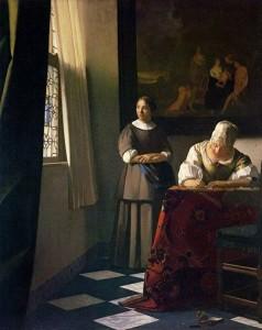 Señora escribiendo una letra en presencia de su criada · Vermeer · 1670-72 · Óleo sobre tabla