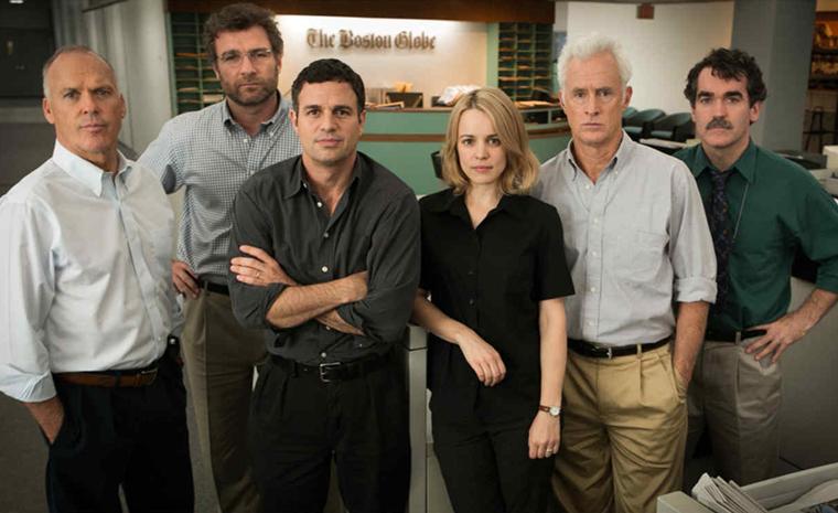 Michael Keaton, Liev Schreiber, Mark Ruffalo, Rachel McAdams, John Slattery y Brian d'Arcy James forman el equipo de reporteros de 'Spotlight'
