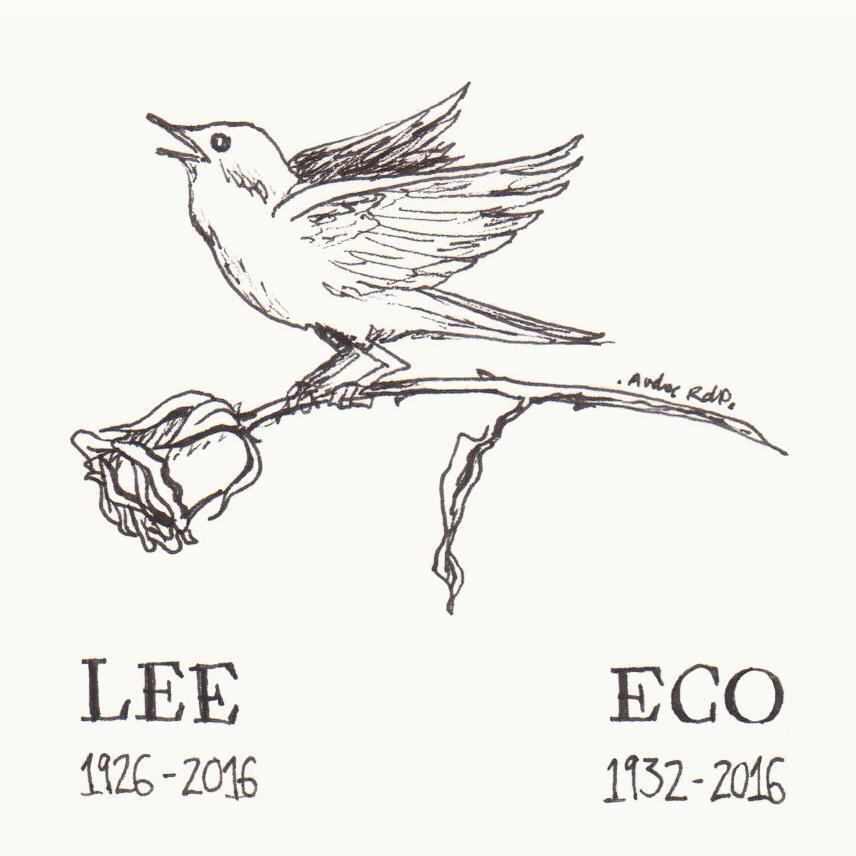 Dibujo en homenaje a Harper Lee y Umberto Eco (Andrea Reyes de Prado)