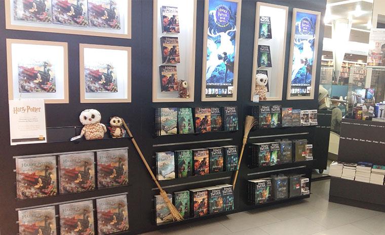 Espacio librero decorado con motivos del mundo de Harry Potter