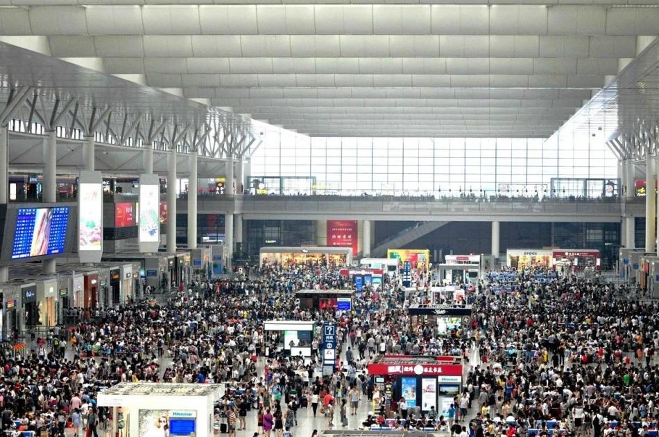 La estación de Shanghai durante el Año Nuevo