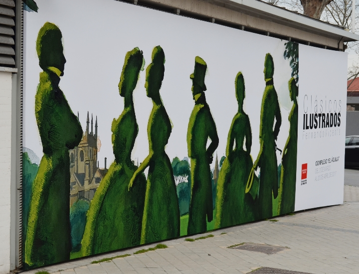 Cartel exterior de la exposición Clásicos Ilustrados Ⓒ Cristina García