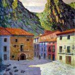 La plaza del pueblo plasmada por Darío Regoyo