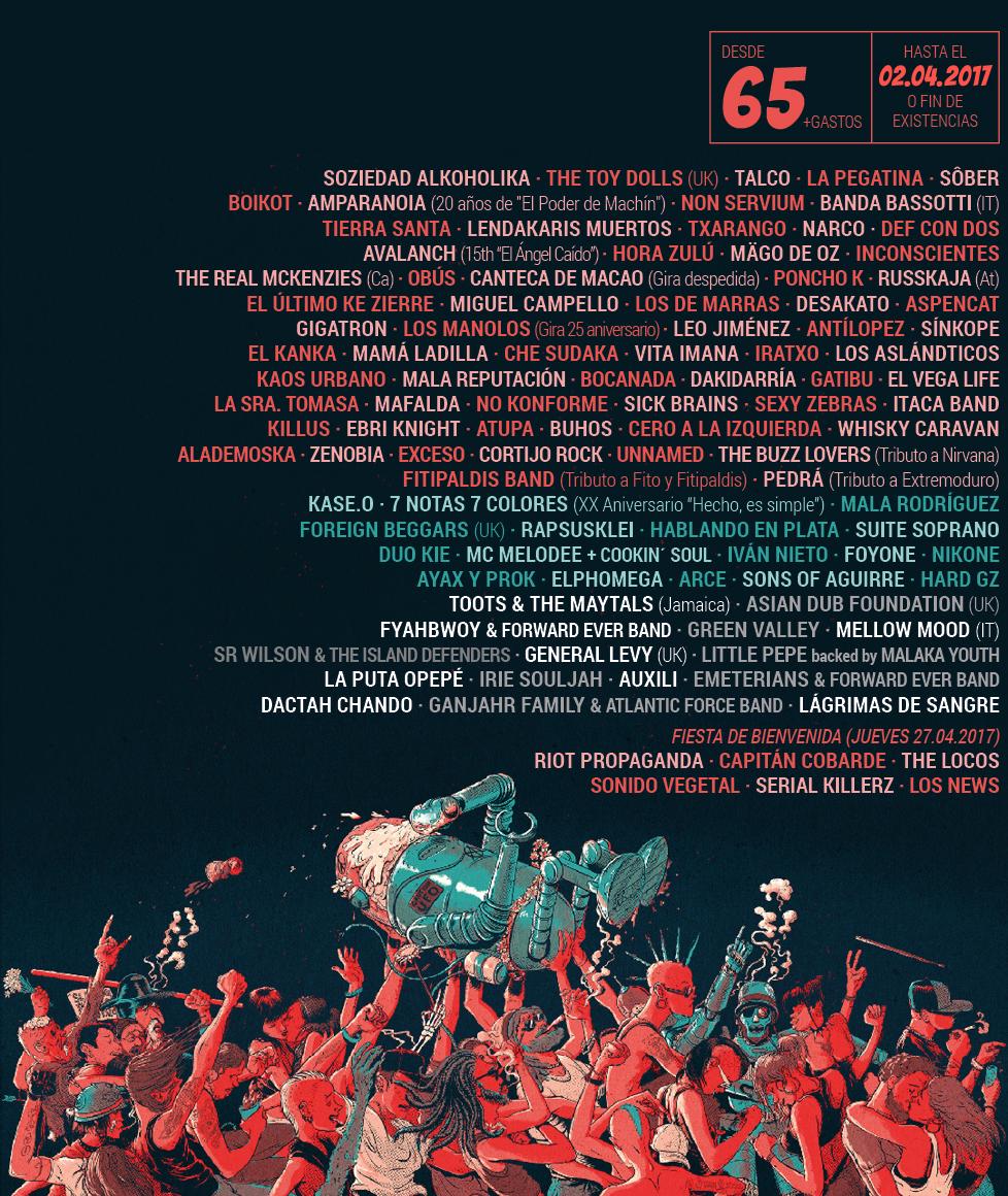 Cartel con los grupos que actuarán en el Festival Viñarock