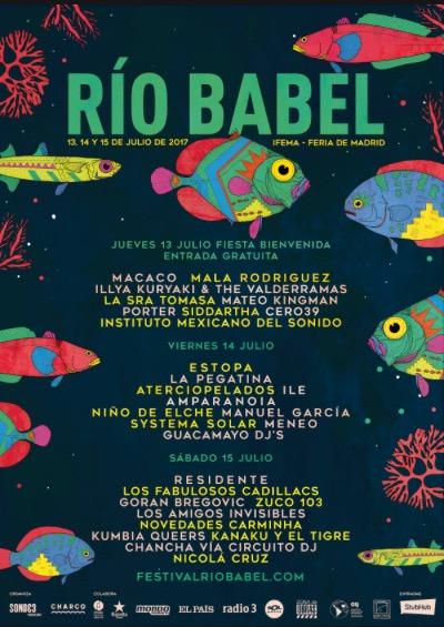 Cartel por días Festival Río Babel
