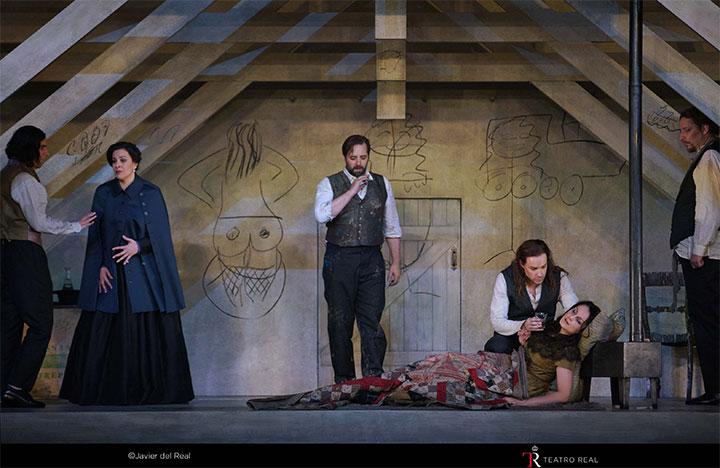 Escena del acto IV de La bohème