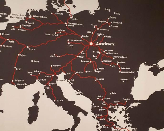 Localización del campo de concentración de Auschwitz en el mapa de Europa
