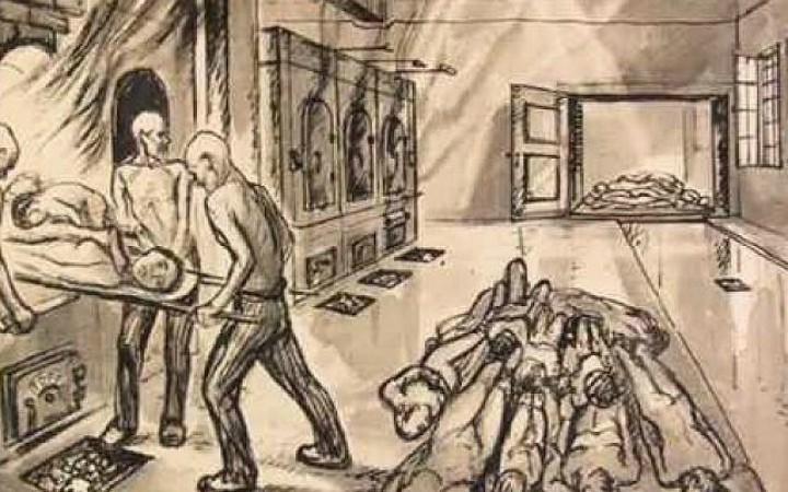 Un dibujo en el que aparecen soldados de las SS introduciendo cuerpos a las cámaras de gas