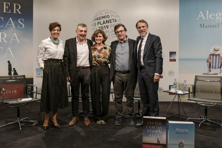 Javier Cercas y Manuel Vilas en la presentación del Planeta 2019