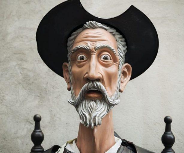 Ilustración del expresivo rostro del personaje literario de Don Quijote de la Mancha