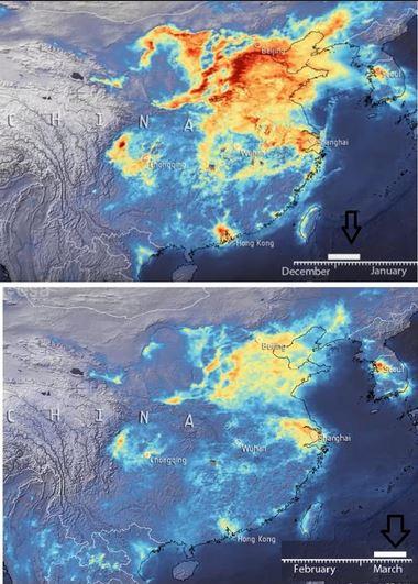 Comparativa de las concentraciones de dióxido de nitrogeno en diciembre de 2019 y marzo de 2020