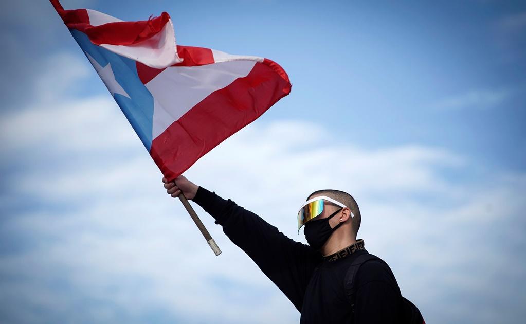 Bad Bunny encabezando una de las protestas de Puerto Rico