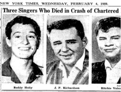 Buddy Holly, Big Bopper y Ritchie Valens en un recorte del New York Times del 4 de febrero de 1959