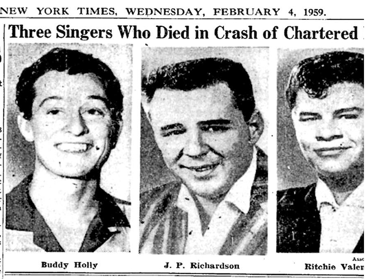 Buddy Holly, Big Bopper y Ritchie Valens en un recorte del New York Times del 4 de febrero de 1959